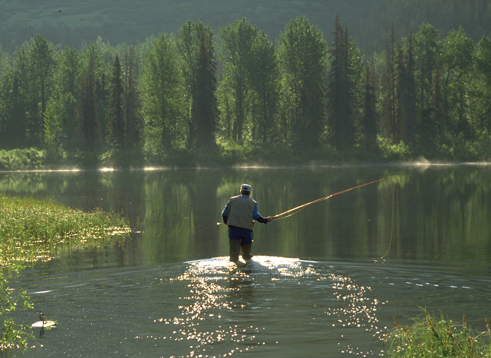 Fly fishing in the lakes of Juneau, Alaska