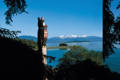 A traditional Alaskan totem pole