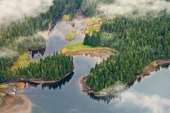 A panoramic view along the coast of Ketchikan, Alaska