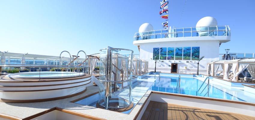 Pools and Jacuzzis on Royal Princess' top deck