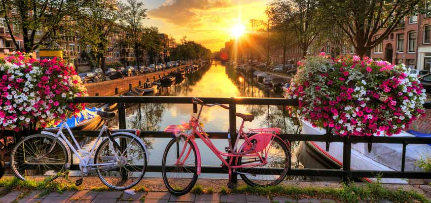 Sun setting over the canals of Amsterdam
