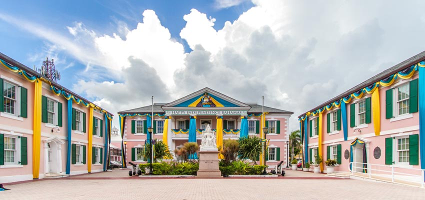 Colourful buildings on the Bahamas