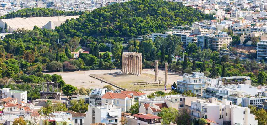 The ruins of the Temple of the Olympian Zeus in Athens