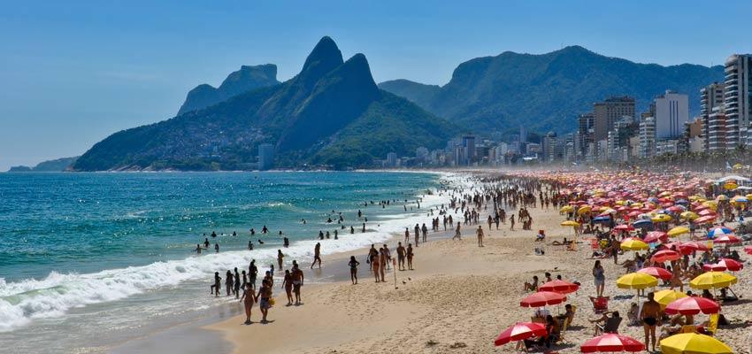 Rio de Janeiro's bustling Ipanema Beach