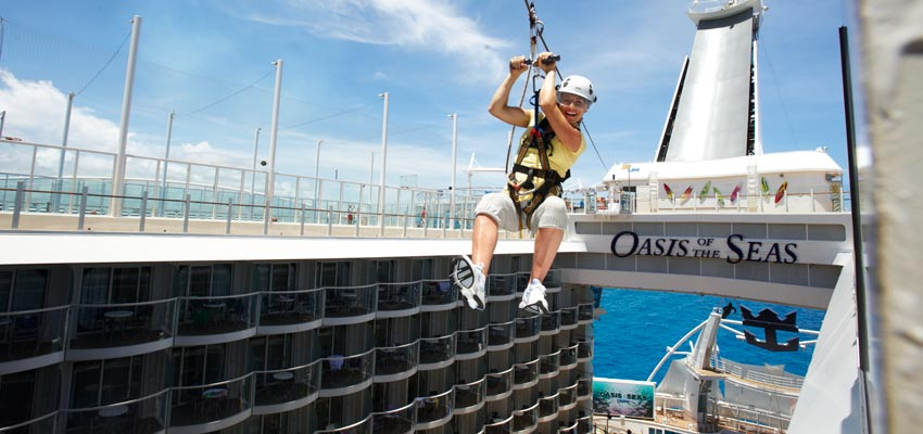 Zip-lining aboard Oasis of the Seas shows just how big some cruise ship are