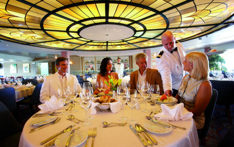 Evening dress code in the Waldorf restaurant on a Cruise & Maritime Voyages cruise ship