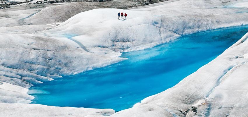 Hikers exploring Mendenhall Glacier