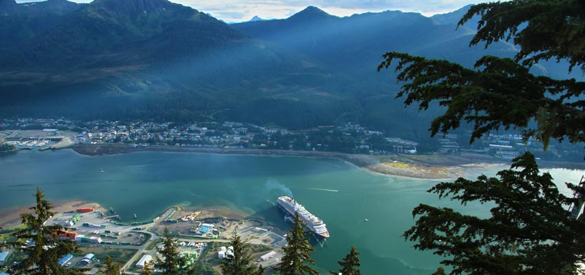 Panoramic view of Juneau's cruise terminal