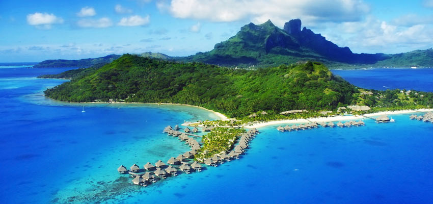 The idyllic island of Bora Bora in the South Pacific