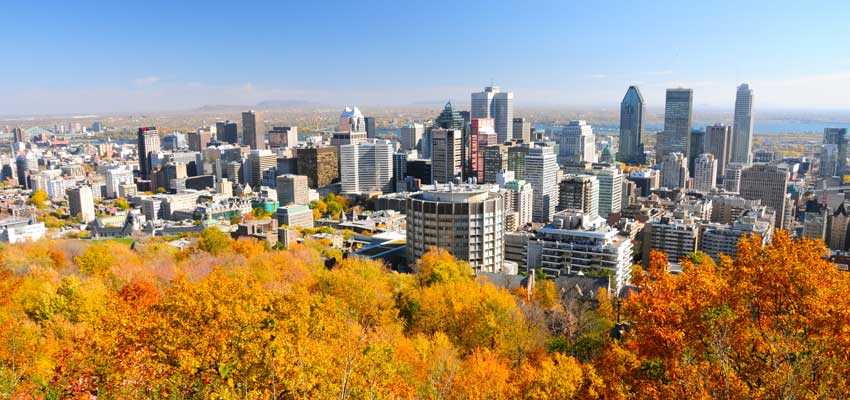The Canadian city of Montreal in the autumn
