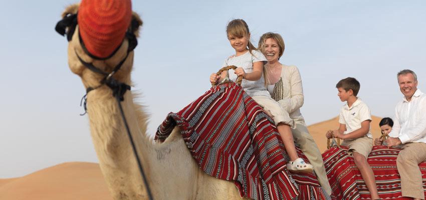 Family enjoying a desert safari