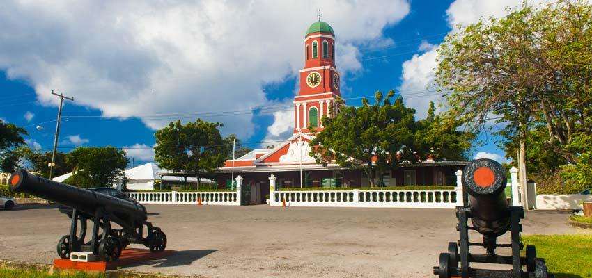 The Main Guard's stunning clock tower in the Garrison Historic Area of Bridgetown