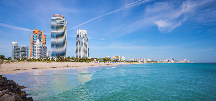 Beaches and skyscapers along the Miami coast