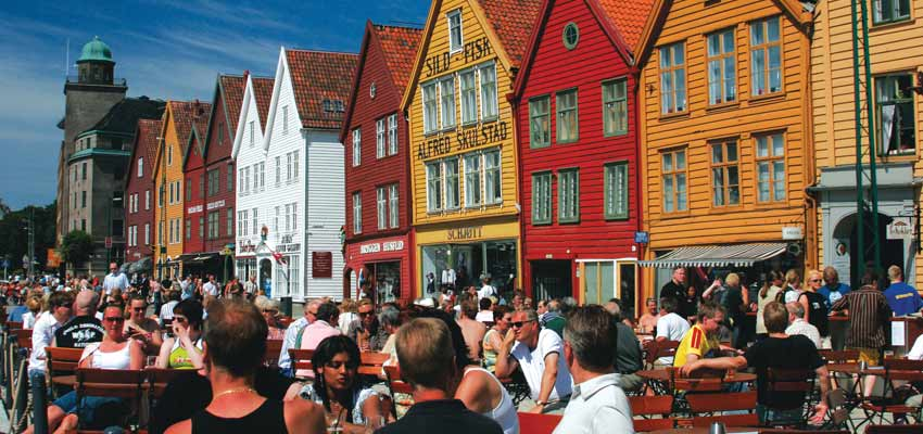 Bergen's bustling shops and restaurants
