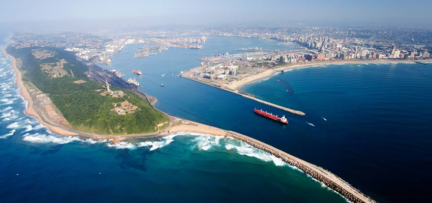 Panoramic view along the coast of Durban