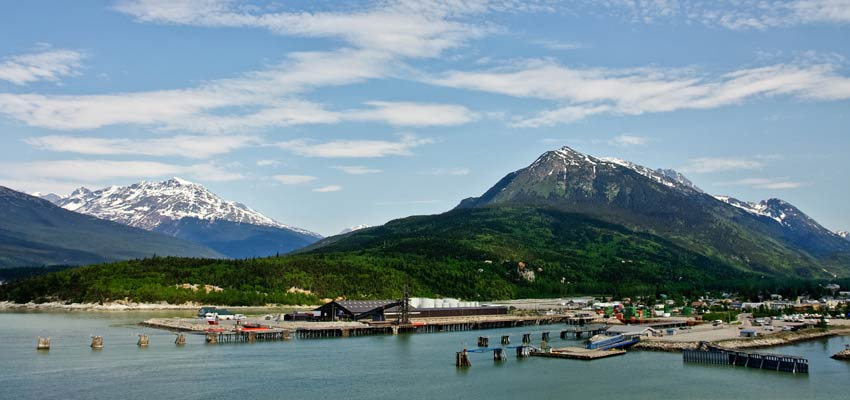 Dramatic scenery greets cruisers as they arrive in Skagway