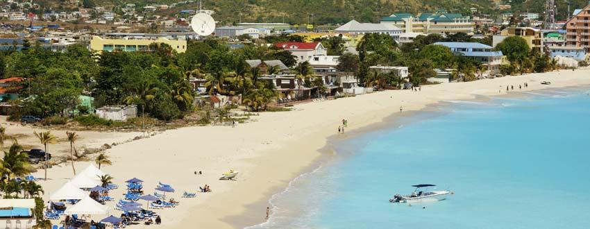 A beautiful sandy beach on the coast of St Maarten