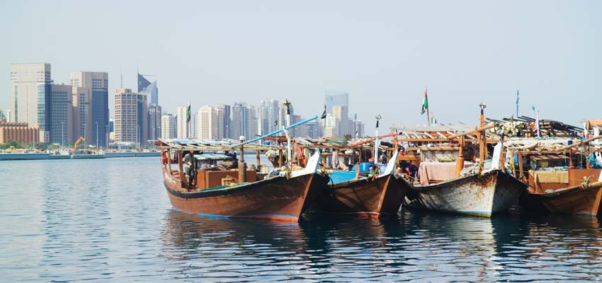 Traditional Dhow boats on Abu Dhabi's scenic Corniche
