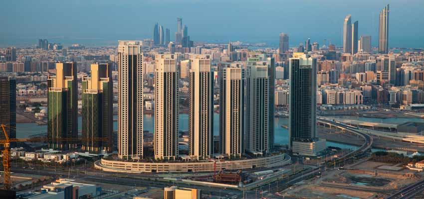 Impressive skyscrapers dominate the Abu Dhabi skyline