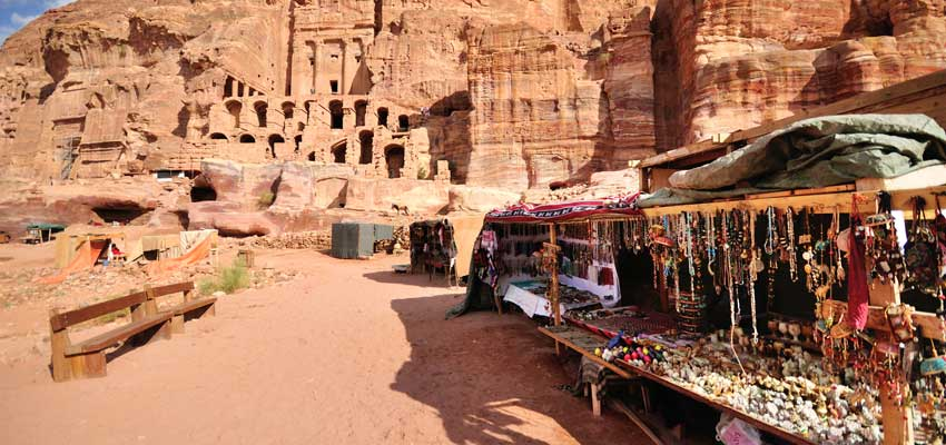 Traditional market stalls in Petra
