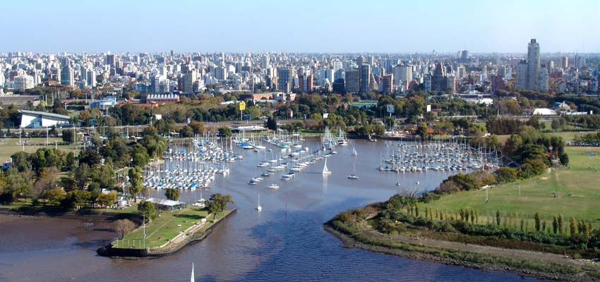 Boats docked in small harbour in Buenos Aires