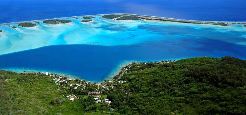 A panoramic view along the coast of Bora Bora