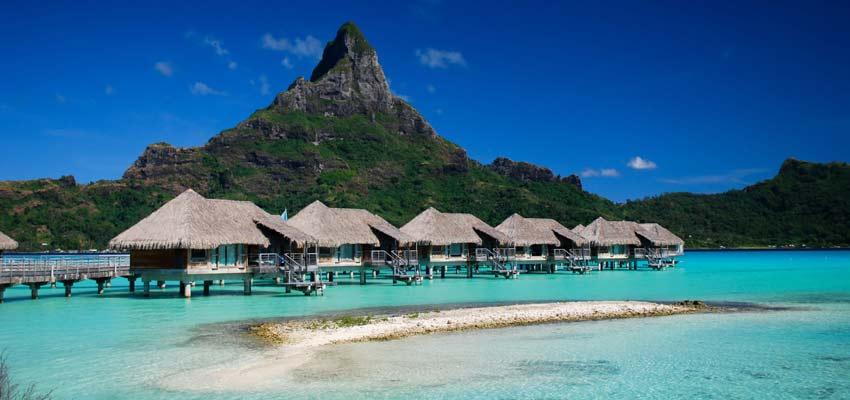 The dramatic backdrop of Bora Bora's natural landscape