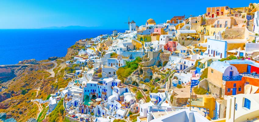 Colourful buildings on the coast of Santorini