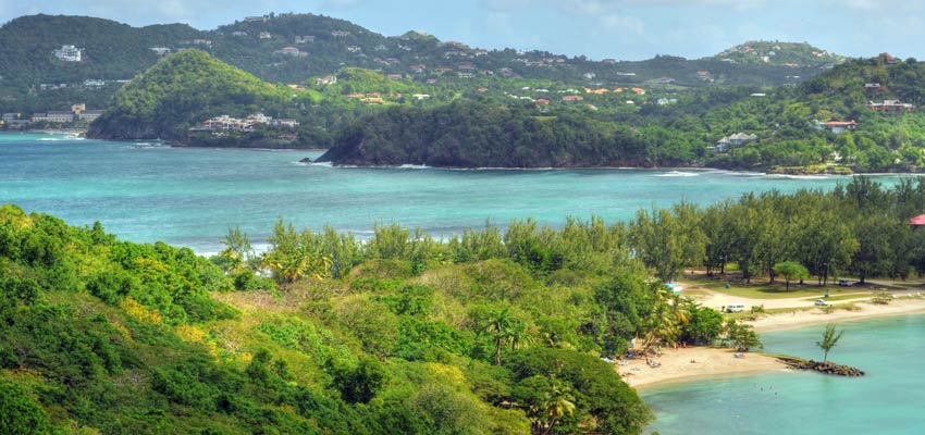 Serene bays and beaches at Soufriere, St Lucia