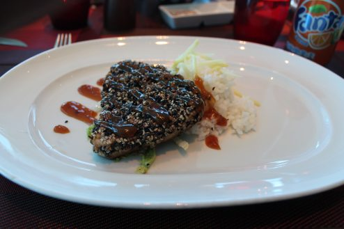 Steak dish on-board Celebrity Eclipse
