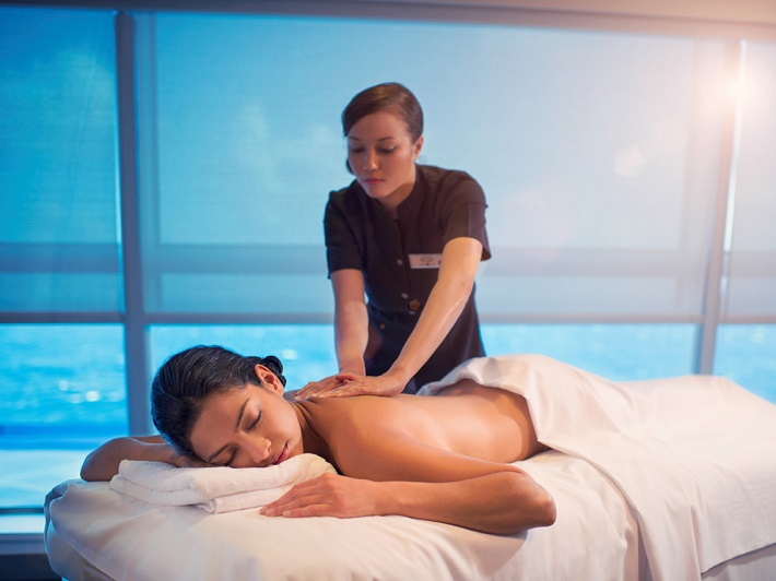 Woman having a massage in cruise ship spa