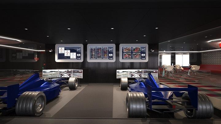 Virtual reality F1 simulator on-board MSC Meraviglia