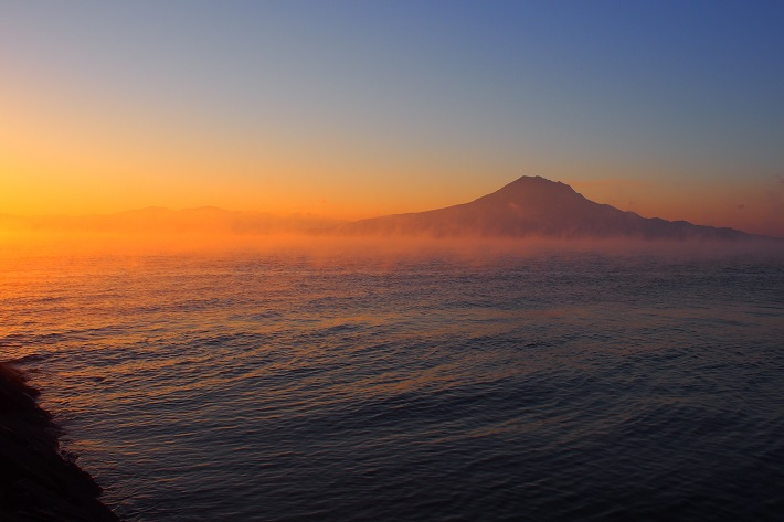 View out to sea from Kagoshima at sunset