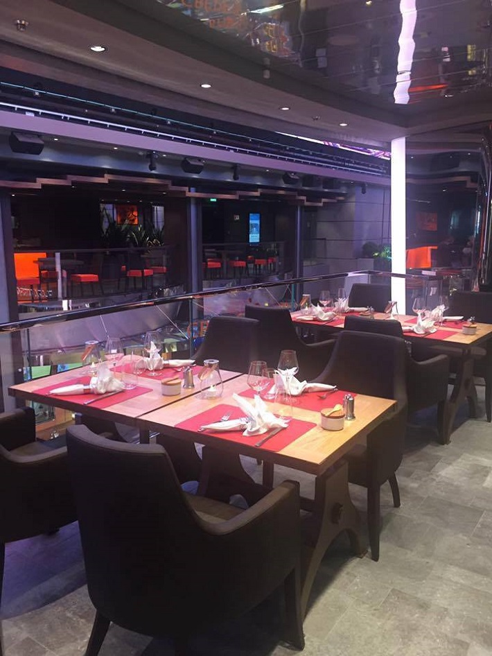 Elegant restaurant on-board MSC Cruises' Meraviglia cruise ship