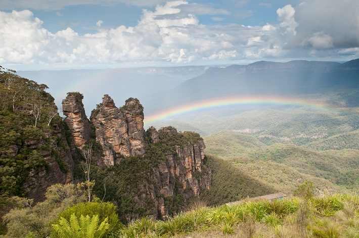 Rainbow above the rugged Blue Mountains in Australia