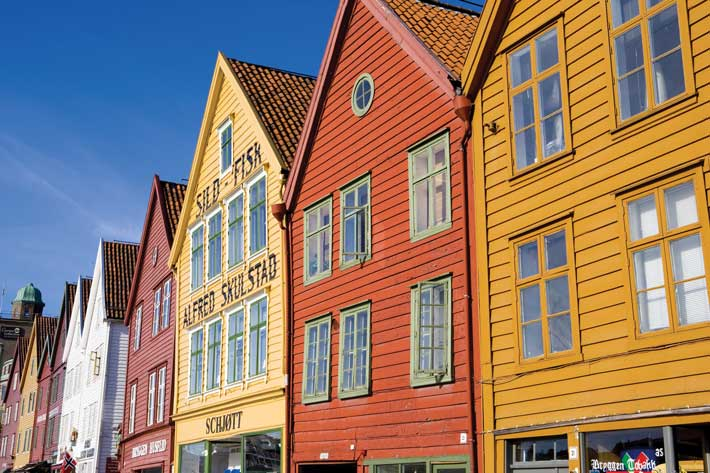 Colourful fronts of traditional fishing shops in Bergen, Norway