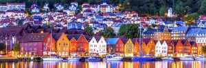 Bergen waterfront at nighttime