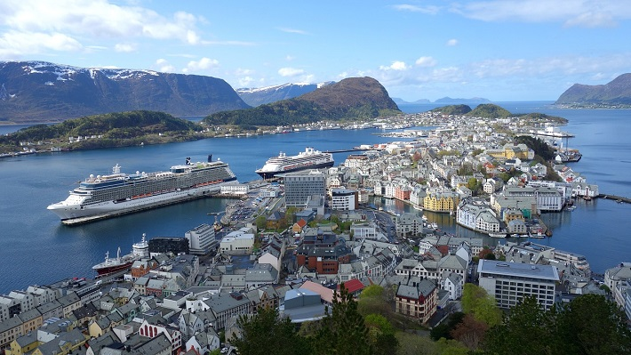 Cruise ship docked in Alesund in Norway