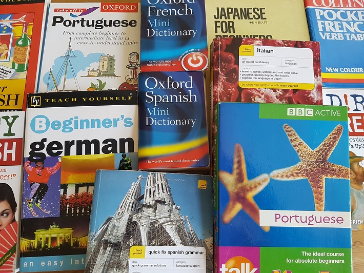 A pile of language books ranging from German dictionaries to Japanese language guides