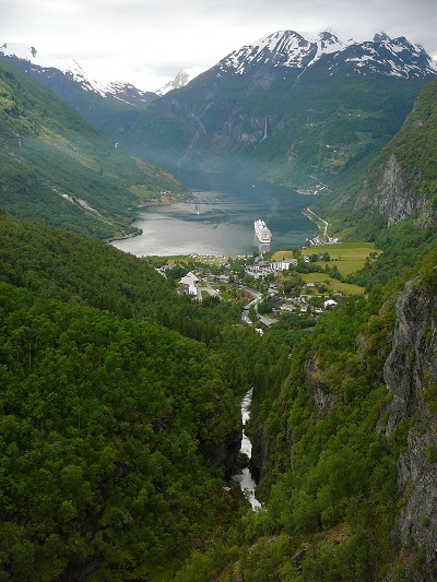 View down the valley to Geirangerfjord