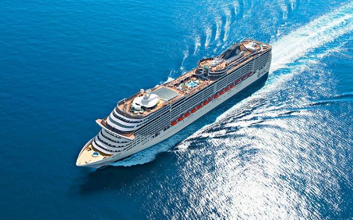 MSC cruise ship sailing on the Mediterranean