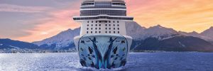 Norwegian Cruise Line's ship, Bliss, sailing towards camera