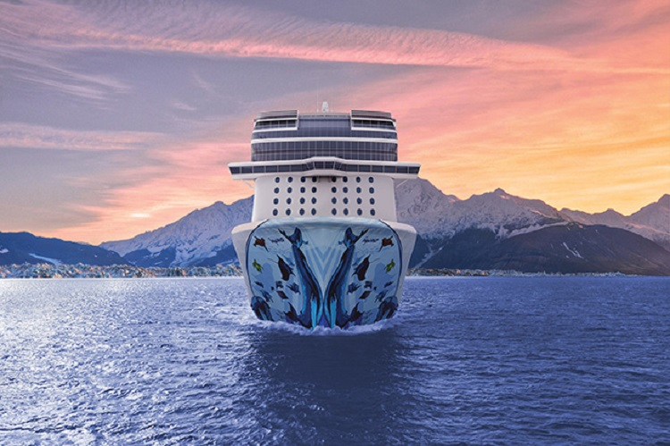 Norwegian Cruise Line's ship, Bliss, sailing towards camera