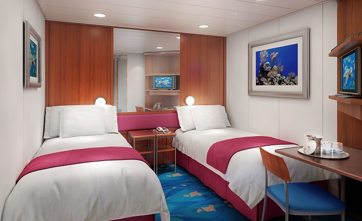 Interior of an inside twin cabin on-board Norwegian Pearl