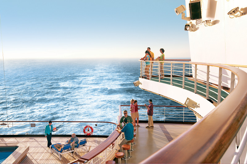 Passengers soaking up the sun and admiring the sea view from the Star Princess deck