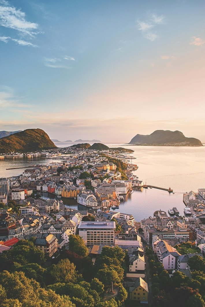 View over Alesund in Norway from Aksla Viewpoint