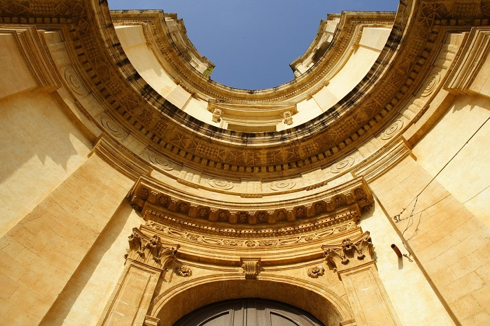 Elaborate entrance to a church in Sicily