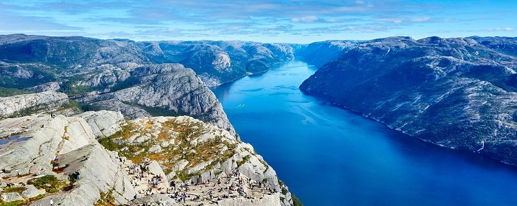View over Forsand from the top of one of the fjords cliffs