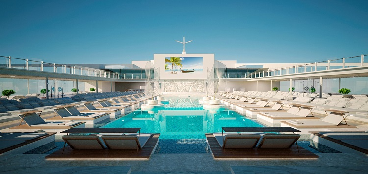 The main pool area on-board MSC Meraviglia in the sunshine