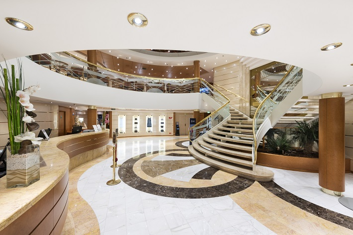 The sophisticated marble reception area on-board MSC Cruises' Opera